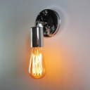 Chrome Open Bulb Sconce Light Single Light Antique Metal Wall Light for Hallway Kitchen