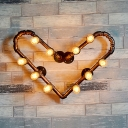 Industrial Heart Shape Wall Light 2/10 Lights Metal Sconce Wall Light in Bronze for Foyer