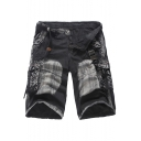 Guys Summer Retro Distressed Camo Pattern Cotton Loose Military Cargo Shorts
