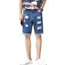 Summer Guys Distressed Ripped Frayed Hem Street Fashion Loose Fit Blue Denim Shorts