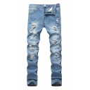 Men's Fashion Light Blue Distressed Stretch Slim Fitted Shredded Jeans