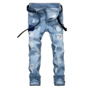 Guys Fashion Vintage Letter Patchwork Destroyed Ripped Jeans in Light Blue