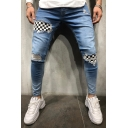Men's Stylish Plaid Patched Distressed Ripped Skinny Fit Torn Jeans