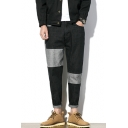 Men's New Trendy Unique Color Block Rolled Cuff Casual Black Tapered Jeans