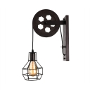 Industrial LED Wall Sconce with Cage Shade in Rust