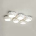 Contemporary Ceiling Lamp with Round Acrylic LED Flush Light in White for Living Room