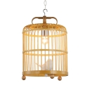 Bamboo Birdcage Pendant Lighting Rustic Lodge Single Suspended Light in Wood with Bird