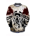 Stylish Cool Funny 3D Comic Character Printed Stand Collar Long Sleeve Button-Down Baseball Jacket