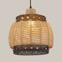 Rope Bucket Hanging Light with Multicolored Beads Country Style Single Pendant Lamp in Beige