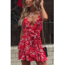 Fashion V-Neck Spaghetti Straps Floral Printed Tied Front Red Mini Slip Dress