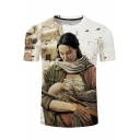 Men's Cool 3D Character Printed Round Neck Short Sleeve Casual T-Shirt