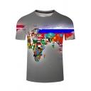 Men's Summer Fashion 3D Flag Map Printed Short Sleeve Grey Casual T-Shirt