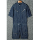 Stylish Stand Collar Fashion Zip Embellished Short Sleeve Button Down Denim Blue Coveralls Rompers