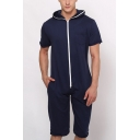 Men's Simple Solid Color Short Sleeve Hoodie Zip Up Sport Loose Lounge Relaxed Rompers