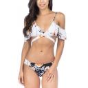 Popular Spaghetti Straps Cold Shoulder Floral Printed Sexy Bikinis