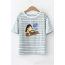 Lovely Girl Striped Print Short Sleeve Loose Fit T-Shirt