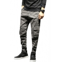 Men's New Stylish Flap-Pocket Side Elastic Cuff Loose Fit Grey Cargo Jeans