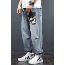 Mens Stylish Washed-Denim Camouflage Pocket Light Blue Loose Fit Straight Jeans