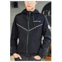 New Stylish Letter Embroidered Patch Zip Closure Long Sleeve Casual Drawstring Hoodies Jacket for Guys