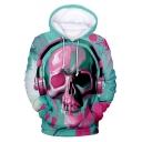 New Trendy Funny Skull with Earphone 3D Printed Long Sleeve Blue Hoodie