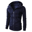 Simple Solid Long Sleeve Zip Placket Drawstring Hooded Casual Sport Jacket