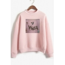 7 Rings Theme Printed Mock Neck Long Sleeve Pullover Sweatshirt