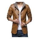 New Trendy Stand Collar Epaulets Detail Single Breasted Fur-Lined Long Sleeve Plain Leather Jacket for Men