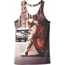Cool 3D Firefighter Figure Printed Sleeveless Casual Khaki Tank Top for Guys