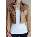 Attack on Titan Comic Logo Pattern Long Sleeve Open Front Khaki Cropped Jacket for Women