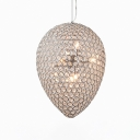 Modern Pendant Lighting for Dining Room with Adjustable Hanging Cord, Chrome Teardrop Pendant Lights with Clear Crystal