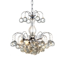3 Lights Hanging Chandelier Modern Adjustable Clear Crystal Pendant Lighting in Polished Chrome