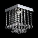 1 Light Rectangular Ceiling Light Modern Clear Crystal Chandelier in Nickel