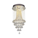 Chrome Round Canopy Ceiling Light 4/7/9 Lights Contemporary Clear Crystal Chandelier for Foyer
