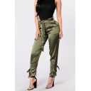 New Stylish Simple Plain Tied Waist Buckle Patched Casual Tapered Pants