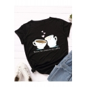 Fashionable Coffee Heart Letter Printed Cotton Short Sleeve Round Neck Casual T-Shirt