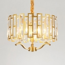 Drum Living Room Hanging Chandelier Clear Crystal 3/4/6/8 Lights Vintage Pendant Lighting with Cord in Gold