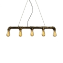 Aged Brass Pipe Island Lighting with 39