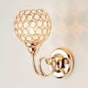 Contemporary Style Orb Shade Sconce Lighting One Light Clear Crystal Wall Mount Light, H10