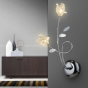 Contemporary Floral Wall Mount Light with Clear Crystal 2 Lights Glass Sconce Lighting in Chrome