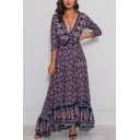 Women's Fashion Ethnic Floral Printed V-Neck Three-Quarter Sleeve Sexy Split Front Navy Maxi Beach Dress