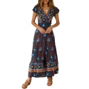Boho Style V-Neck Short Sleeve Floral Tribal Printed Sexy Split Front Maxi A-Line Dress