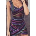 Womens Summer Fashion Printed Sleeveless Purple Mini Bodycon Dress
