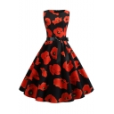 Women's Vintage Allover Floral Print Round Neck Sleeveless Bow-Tied Waist Black Midi Flare Dress
