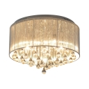 Vintage Drum Flushmount Lighting with Clear Crystal 4/6-Light White Fabric Ceiling Light Fixture