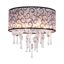 4 Lights Drum Flush Mount Light Fixture with Clear Crystal Contemporary Style Fabric Ceiling Lighting, H19.5