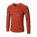 New Stylish Basic Round Neck Long Sleeve Simple Plain Fashion Ripped Sweater for Men