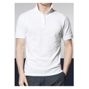 Men's Summer New Fashion Solid Color Turn-Down Collar Short Sleeve Fitted Polo Shirt