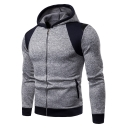 Unique Colorblock Patchwork Mens Fitted Long Sleeve Zip Up Grey Hoodie