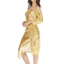 Sexy Off the Shoulder Split Hem Sequined Metal Color Midi Bodycon Dress