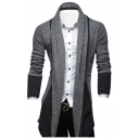 New Stylish Fashion Color Block Shawl Collar Open Front Mens Longline Cardigan